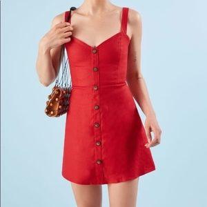 Reformation Button Front Linen Red Finn Dress 2